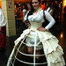 Steampunk cosplay model and seamstress at Worlds Fair