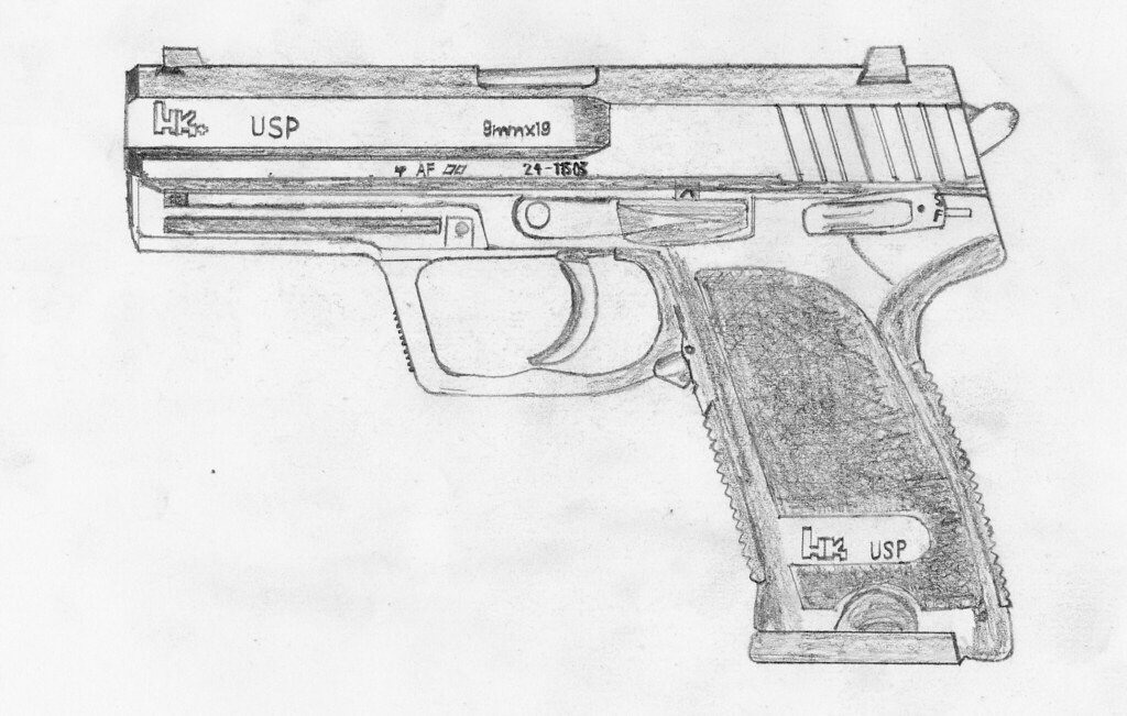 how to draw suppressed pistol 3d