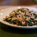 Barley salad with bacon, mushrooms, and chard