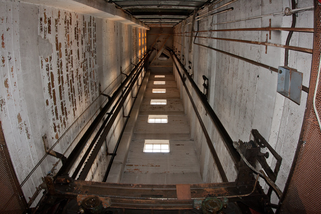 Elevator Lift Shaft Abandoned Barber Colman Factory In
