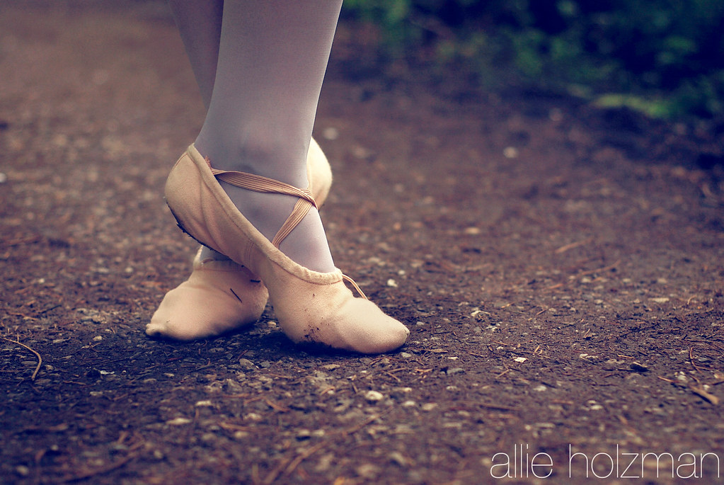 White Ballet Shoes With Ribbon