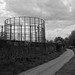 Gas holders by the canal