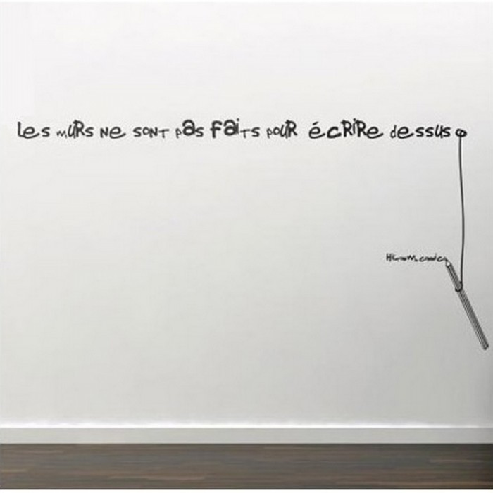 Sticker design d coration murale phrase mur les murs ne s flickr - Stickers ecriture chambre ...