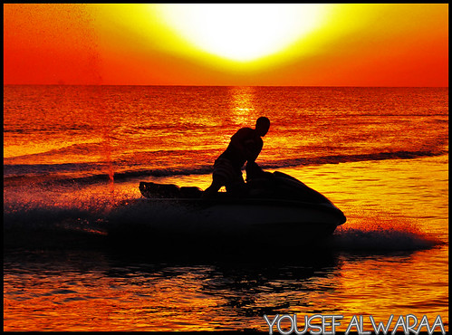 enjoy jet skiing at the sunrise in Bnaider Beach - kuwait ! | by yalwaraa