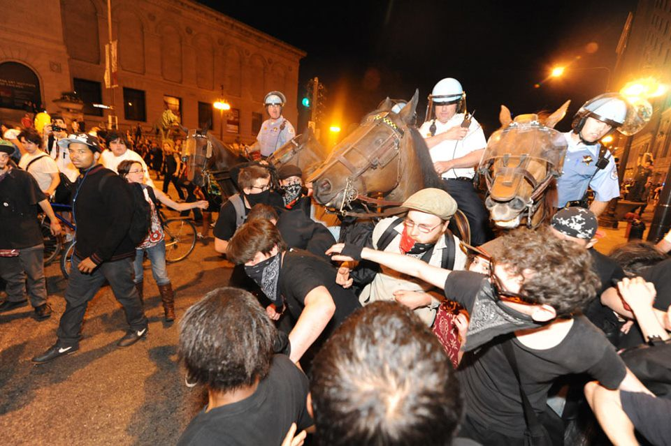 Chicago NATO Horses shoving into the crowd