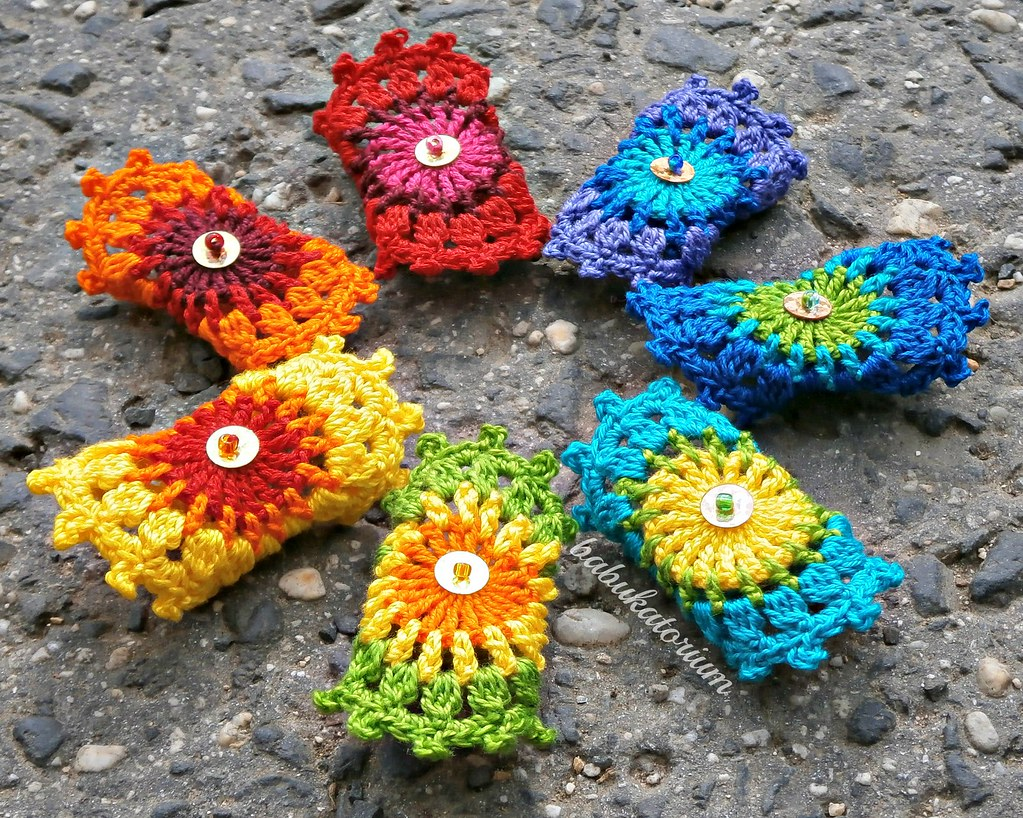 Set Of 7 Rainbow Crochet Mandala Bridesmaid Rings With Gol