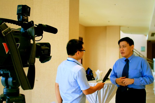 ASEF Director for Public Affairs interviewed by Vietnam Television during the workshop in Hanoi | by Asia-Europe Foundation