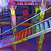 Colourful steps leading to the river