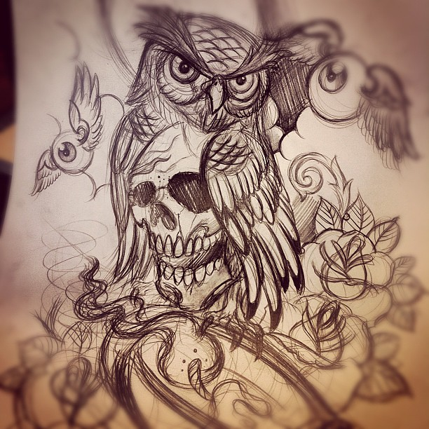 Sketch For A Japanese Sleeve: Sketch For New Sleeve In Progress #tattoo #owl #roses #can