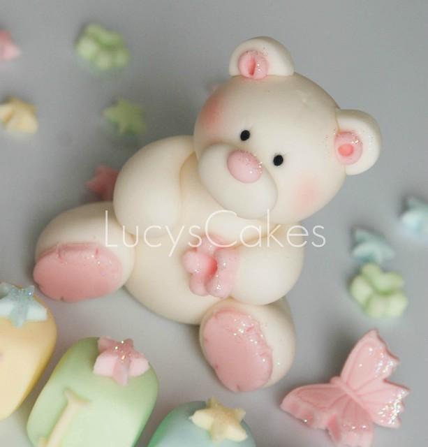 teddy bear cake topper christening or birthday | Flickr ...