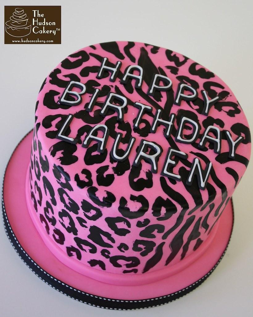 Peachy Cheetah Birthday Cake Handpainted Cheetah And Zebra Print Flickr Funny Birthday Cards Online Benoljebrpdamsfinfo