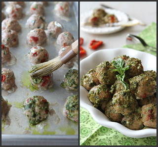 Baked Caprese Turkey Meatballs with Sun-Dried Tomatoes, Mozzarella & Basil Pesto | by CookinCanuck