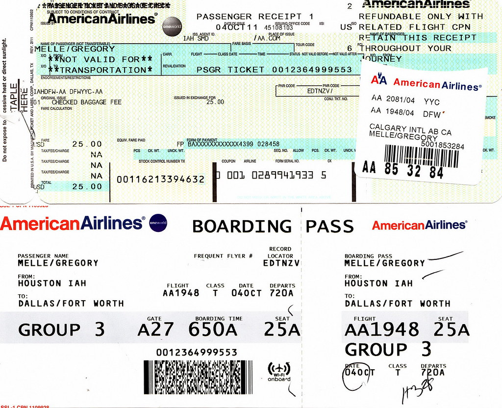 AA 2011-10-04 American Airlines Boarding Pass | Airline ...