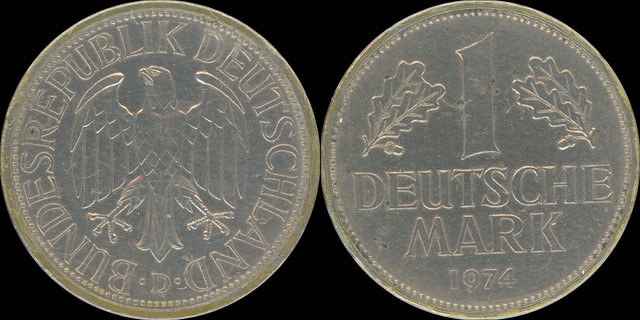 1974 Deutsche Mark Coin 1 Deutsche Mark 1974 d