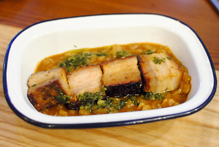 carapulcra peruvian sun dried potato stew, crispy pork belly, chimichurri | by Darin Dines