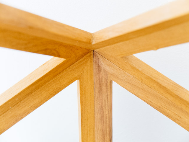 close up of wooden lamp