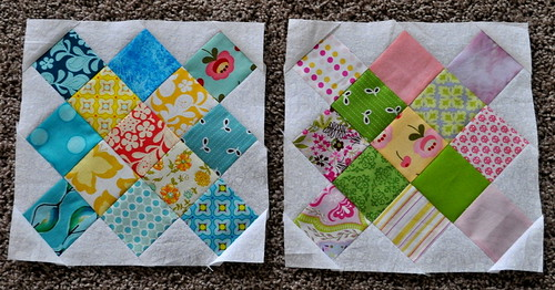first 2 granny square quilt blocks | by vickivictoria
