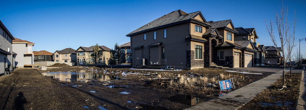 Suburban development in southwest Edmonton, where building a house tends to be cheaper and easier than it is in mature neighbourhoods. Photo by Kurt Bauschardt.