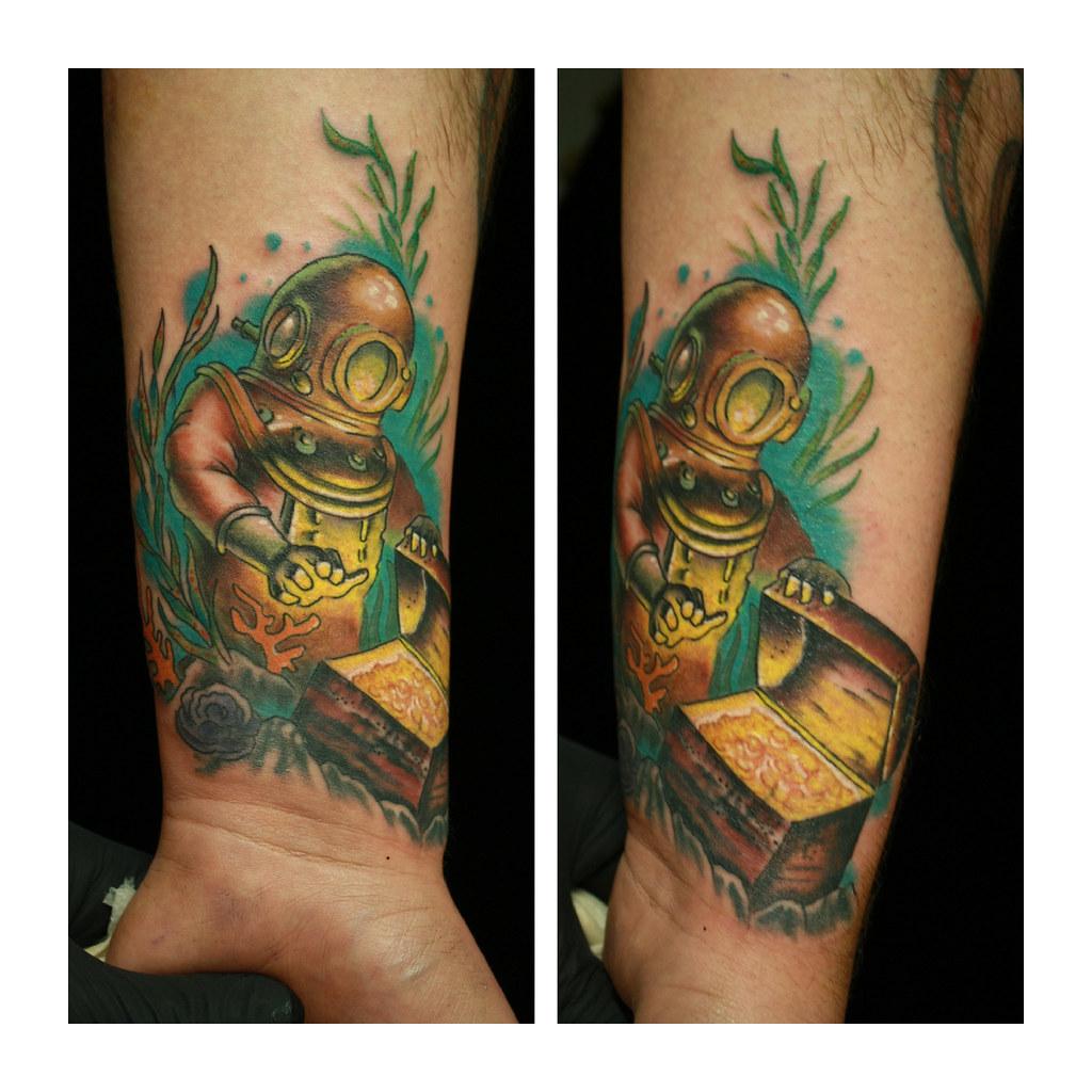 Treasure Chest Tattoo: Antique Diver With A Treasure Chest Wrist