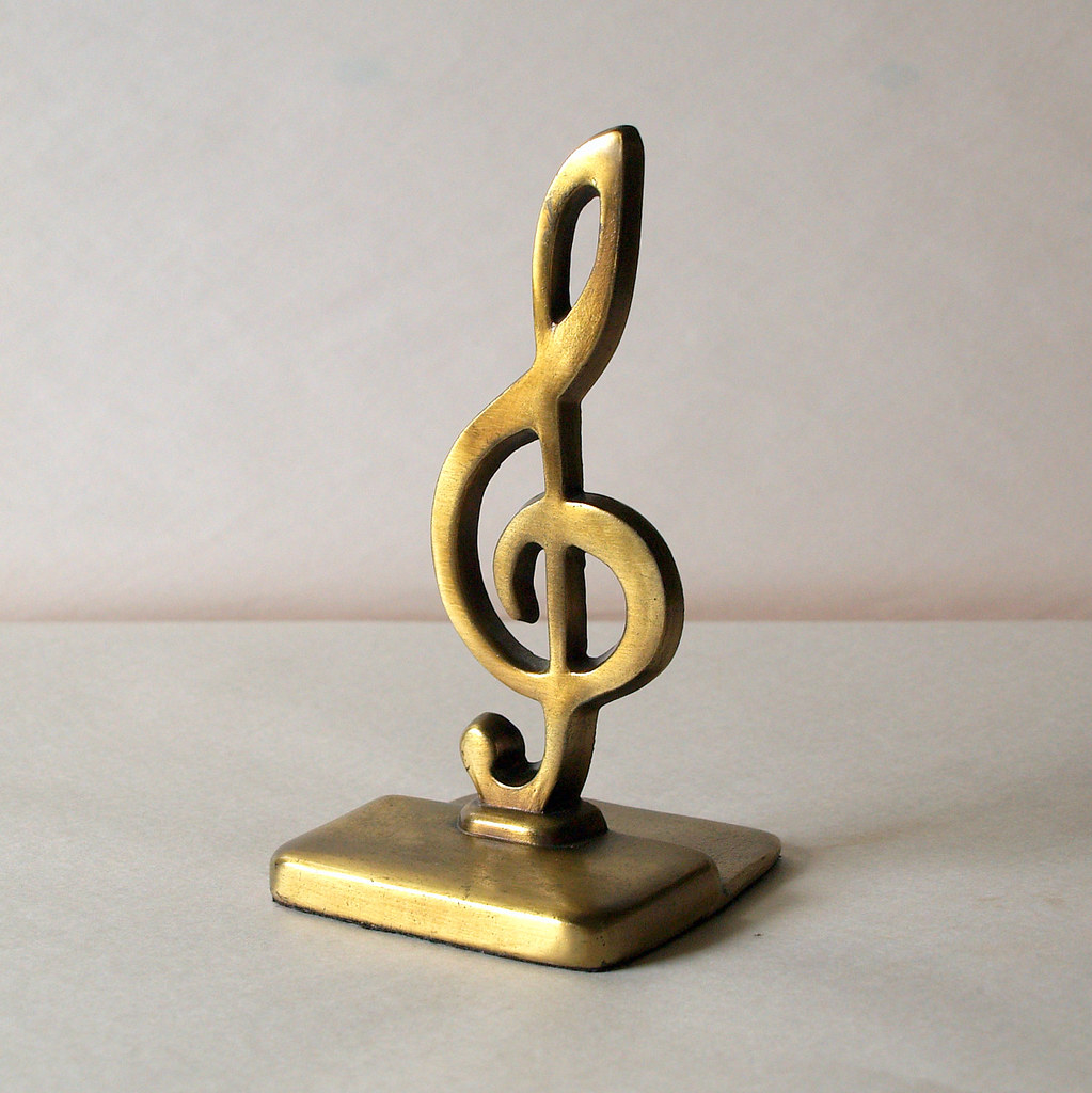 Classic antique brass vintage treble clef gold booke flickr - Treble clef bookends ...
