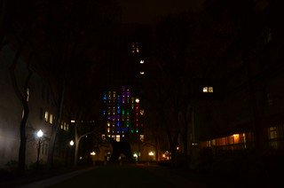 Achievement unlocked: played Tetris on the side of a skyscraper — the Green Building at MIT (photo) | by Chris Devers