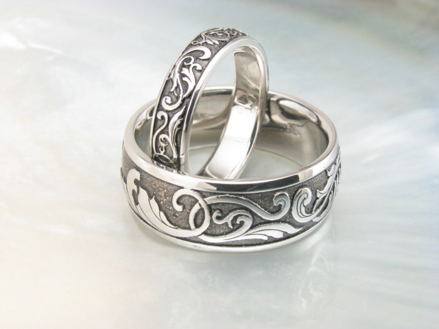 Handmade Victorian Scroll Wedding Rings Platinum Wedding