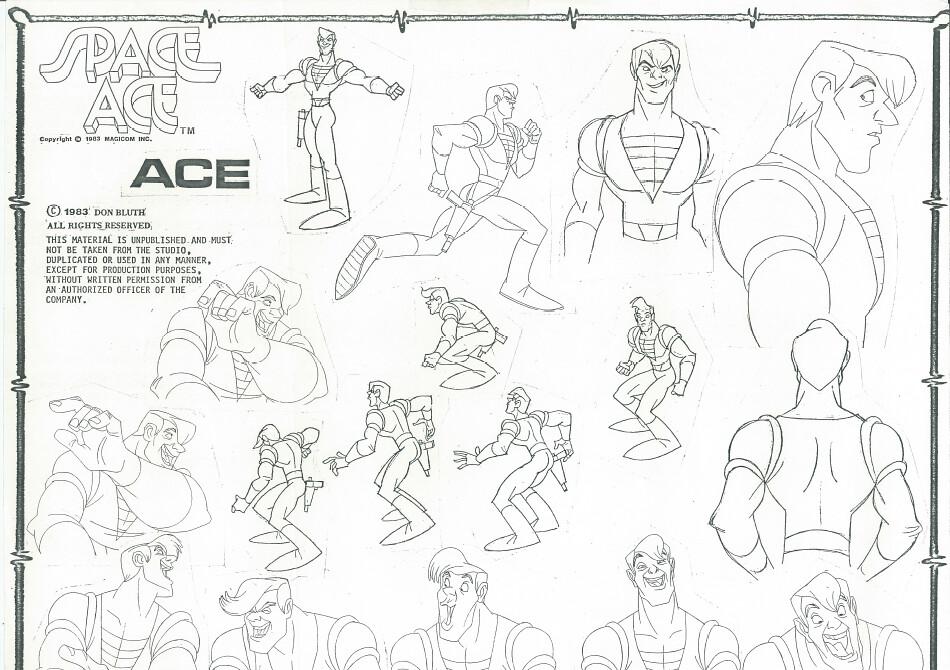 Space Ace Ace Model Sheet | Ace Model Sheet with various pos ...