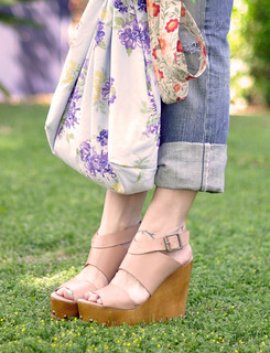 wooden wedges-cuffed rippedjeans-floral bag | by ...love Maegan