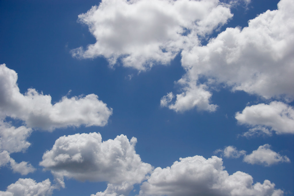 Fluffy White Clouds, Blue Sky | These fluffy white