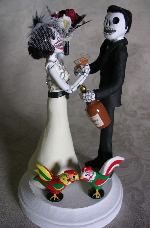 Day Of The Dead Wedding Cake Topper Skeleton Bride And