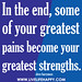 In the end, some of your greatest pains become your greatest strengths.