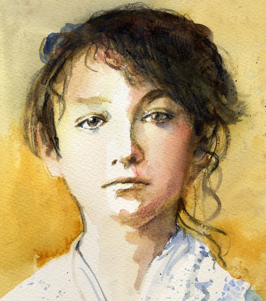 Camille Claudel: Watercolor And Graphitint Pencil For