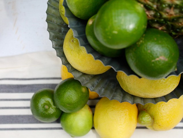 Decorating with fresh lemons and limes