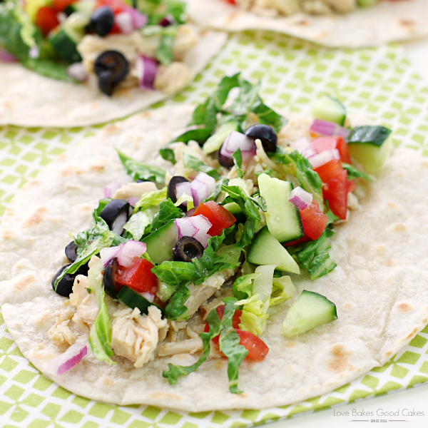 Italian Chicken Chopped Tacos with fresh vegetables close up.