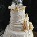 Ivory Lace Tiered Fondant Wedding or Anniversary Cake side view