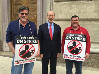 PA Gov. Tom Wolf visits the Verizon picket line.