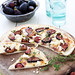 fig and goats cheese pizza with thyme and pistachios