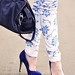 Floral print jeans DIY - blue  pumps and bag