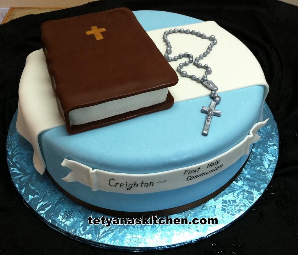 First Communion Cake Yellow Cake Bible Was Vanilla Cake