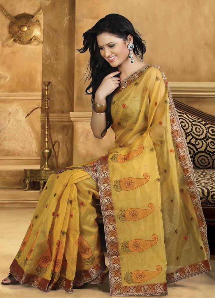 Mustard Cotton Saree 10749 Indianclothstore Flickr