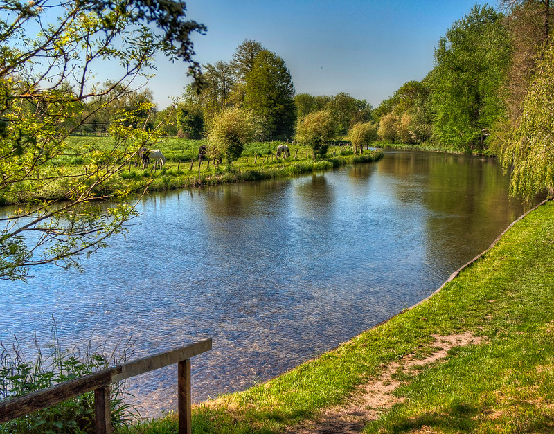 The Riverside Walk by the River Anton at Goodworth Clatford in Hampshire