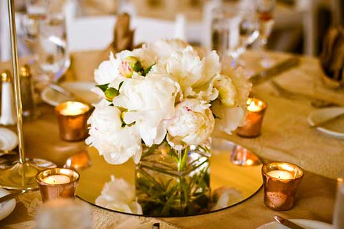 White peonies in low square vase centerpiece flickr