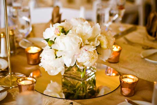 White peonies in low square vase centerpiece simple