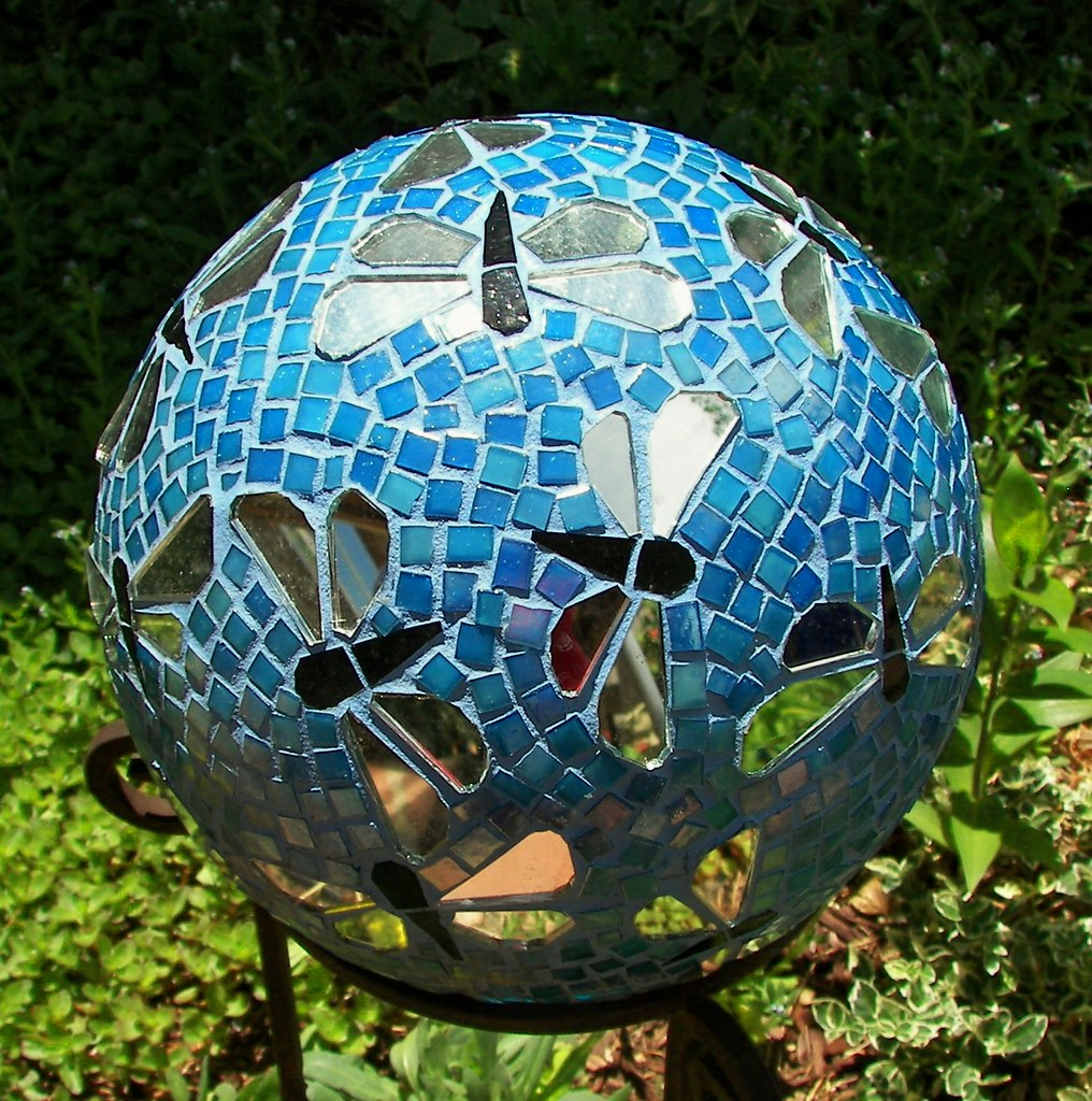 Dragonfly gazing ball recycled bowling ball mirror for Garden artist designs