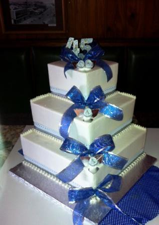 Three Tier 45th Birthday Cake With Buttericing