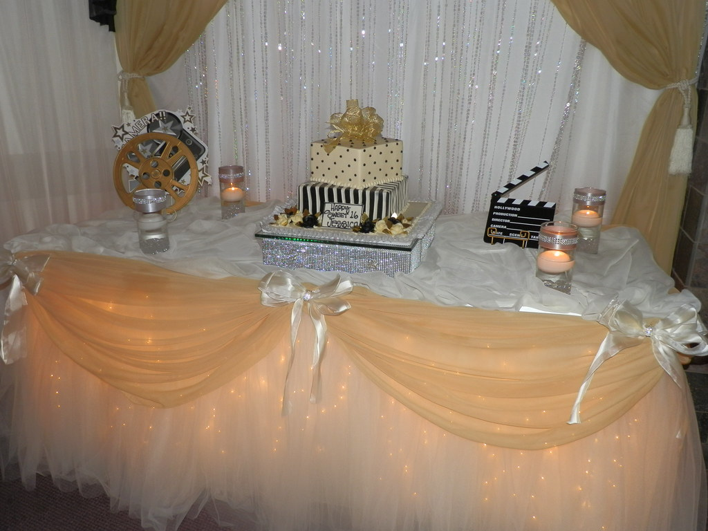 Cake Decoration Ideas With Sweets : Decor by SBD Events - Sweet 16 Cake Table - Hollywood Them ...