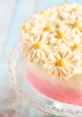 Brown Butter Pink Ombré Daisy Cake with Strawberry Jam | by raspberri cupcakes