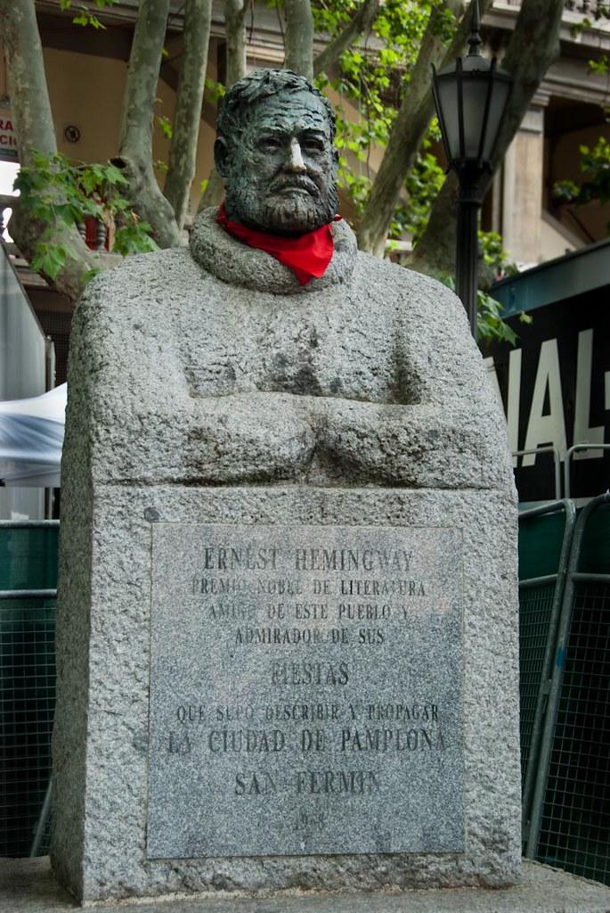 Ernest Hemingway Statue Outside Of Pamplona Bull Ring