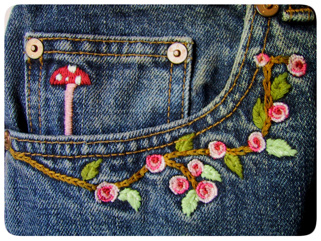 Thrift finds embroidered jeans ged laurie duncan