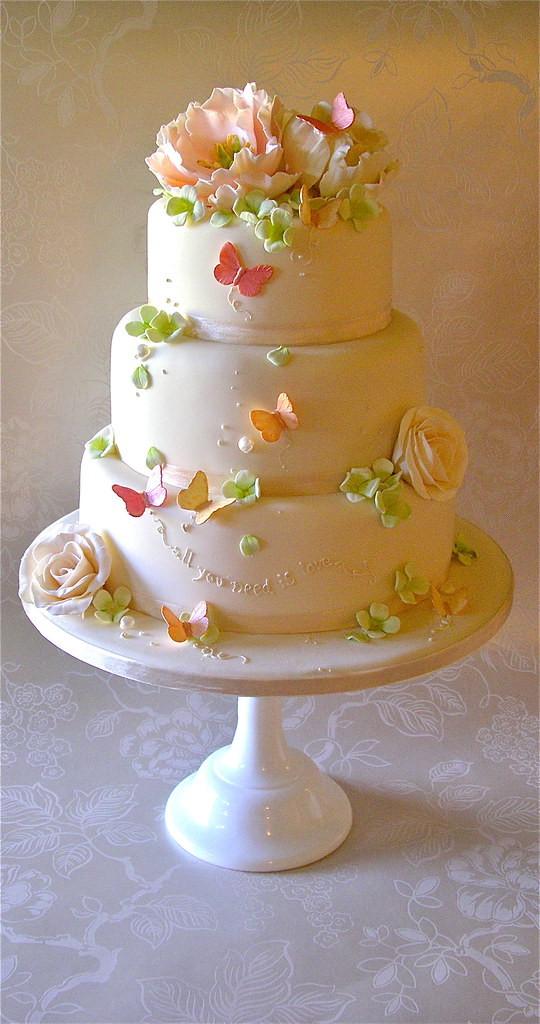 Cake Images In : Pink,Peach and green wedding cake Lynette Horner Flickr